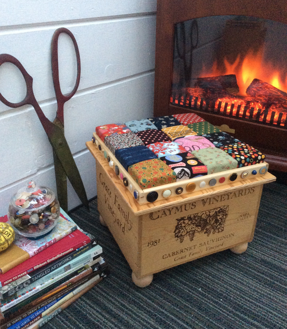 Home Decor Using Recycled Materials: Recycled Wine Crate Footstool DIY Home Decor