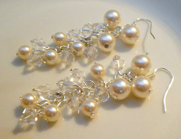 Cascading Pearl Wedding Earrings