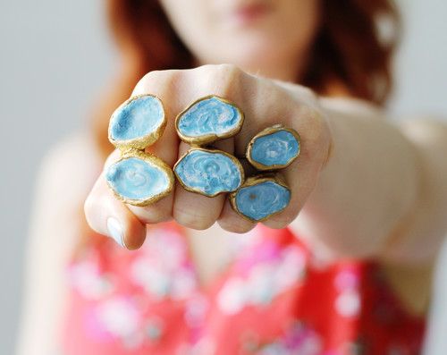 Ocean Blue Enamelled Statement Rings