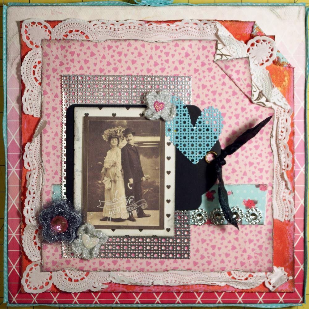 Homemade scrapbook ideas - Vintage Mixed Media Homemade Valentine S Day Scrapbook Layout Favecrafts Com
