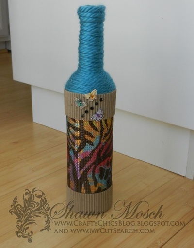 Rhinestone Embellished DIY Wine Bottle Craft