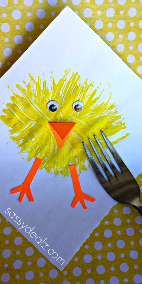 Easter Chick Fork Painting Project