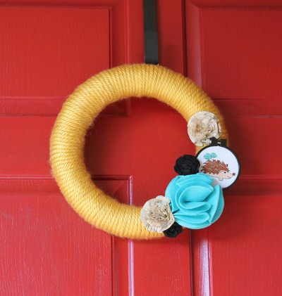 Spring Hedgehog Yarn Wreath