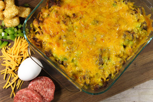 Tater Tot, Sausage, and Egg Breakfast Casserole