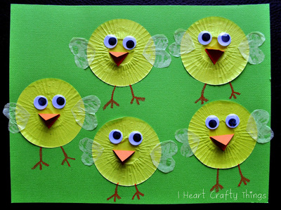 Easter Chicks Cupcake Liner Craft