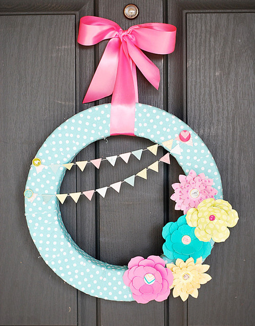 Paper Flowers Wreath for Spring