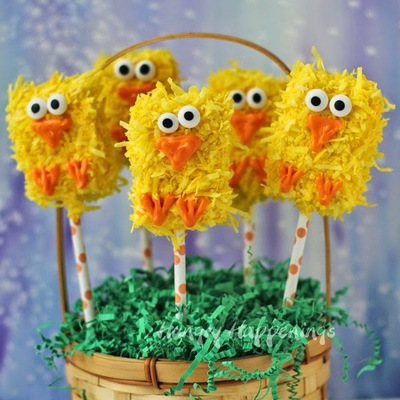 Easter Chick Rice Krispie Pops