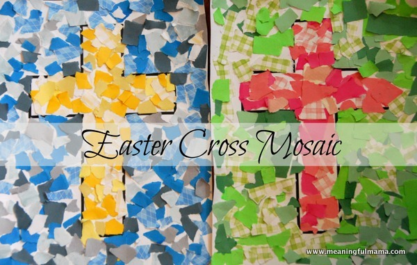 Paper mosaic cross craft for Mosaic templates for kids