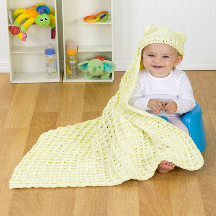 Knitting Pattern Baby Hooded Blanket : Cozy Hooded Baby Blanket Crochet Pattern FaveCrafts.com