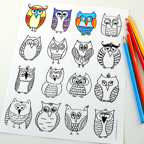 Friendly Owls Free Coloring Page