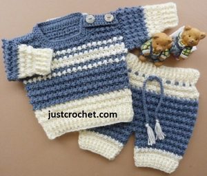 Boy's Crochet Sweater & Pants Set
