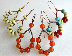 Woman-of-the-World Bead and Wire Earrings