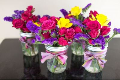 Ribbon and Roses Mason Jar Centerpieces