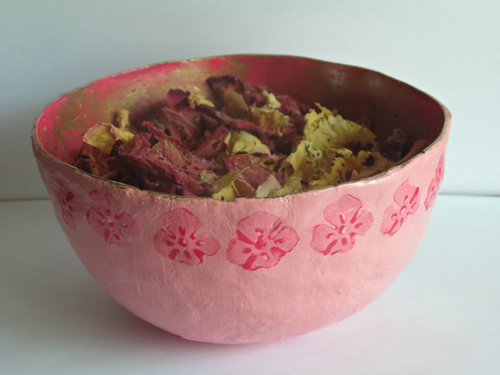 Pretty in Pink Papier Mache Bowl
