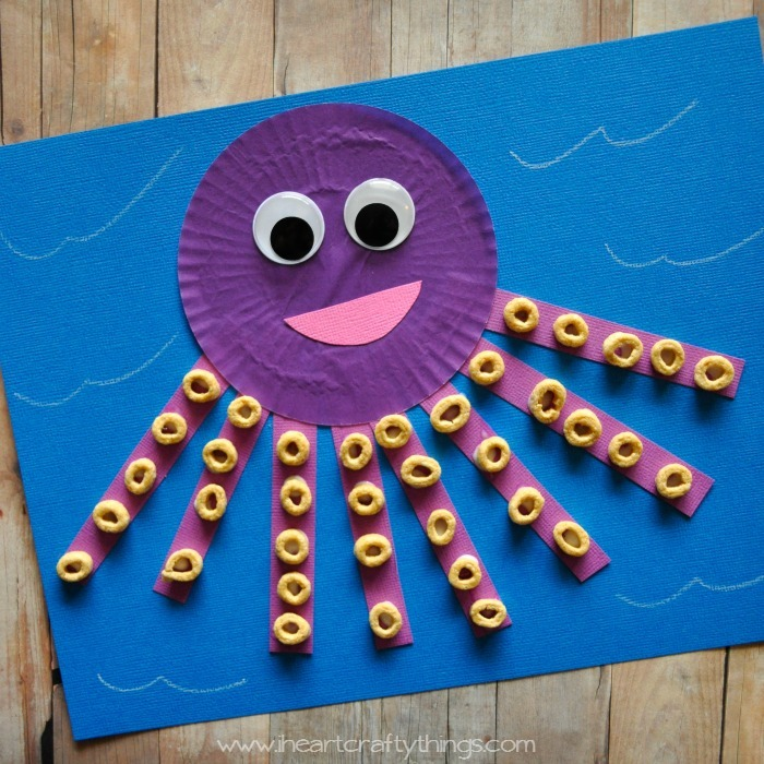 ocean animal cupcake liner crafts cupcake liner octopus craft allfreekidscrafts 6973