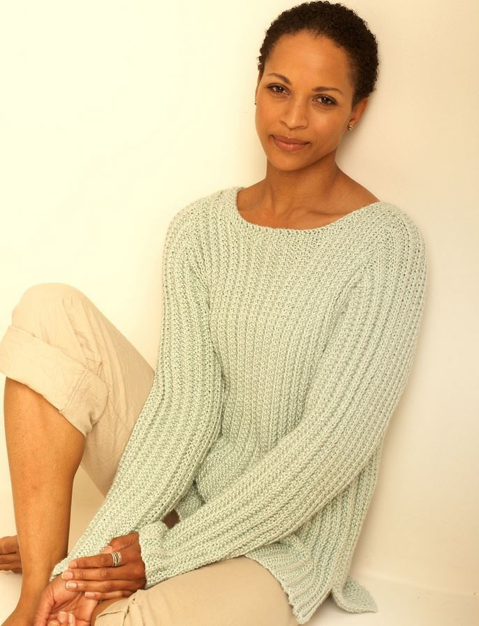 Knitting Patterns For Larger Ladies : Easy Casual Pullover AllFreeKnitting.com