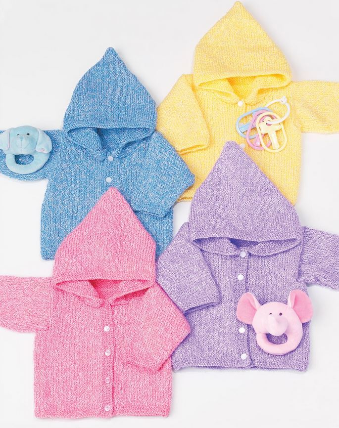 Easy Knitting Patterns For Toddlers Sweaters : Simple Baby Hoodies AllFreeKnitting.com