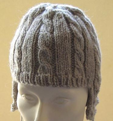 Cable Ear Flap Hat With Pom Poms
