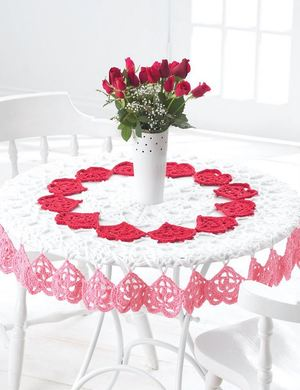 Tender Hearts Crochet Tablecloth