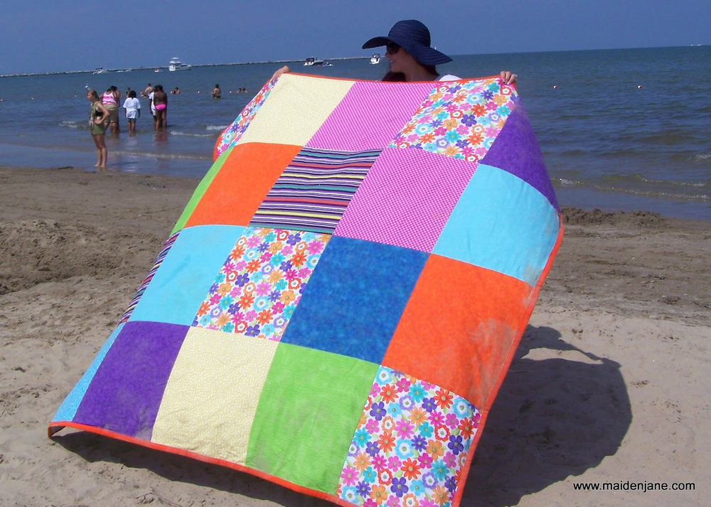 Big and Bold Beach Blanket | AllFreeSewing.com
