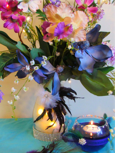 Glamorous Feathered Floral Centerpiece