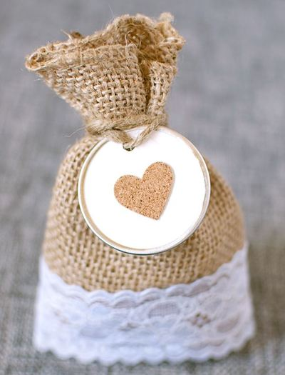 Adorably Rustic Lace and Burlap Favor Bags