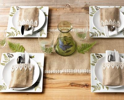 Lace and Burlap Table Setting