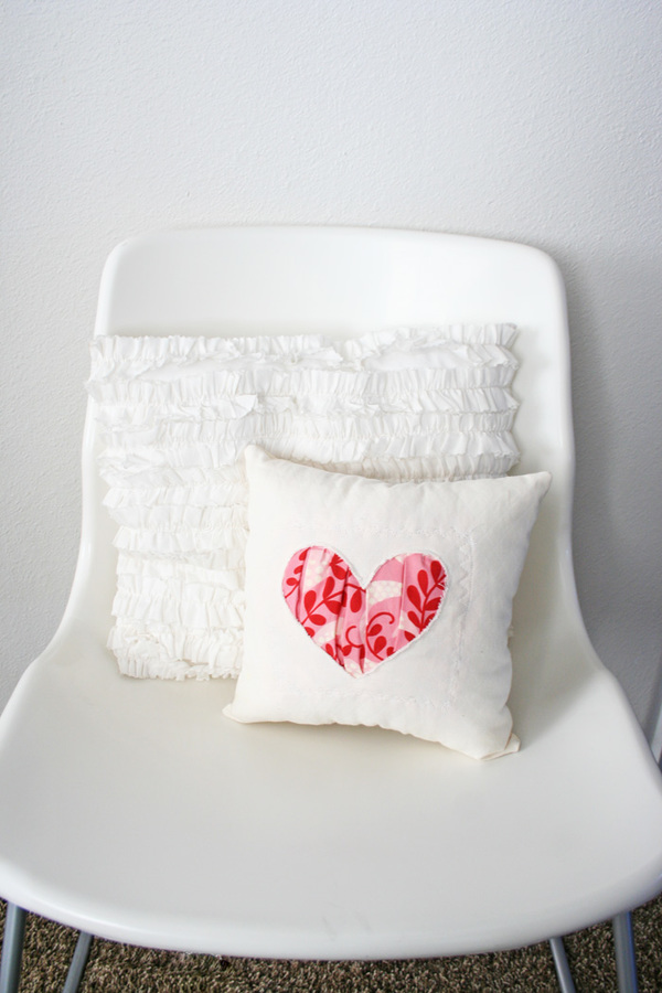 Reverse Applique Gathered Heart Pillow