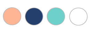Peach, Navy, Mint, and White