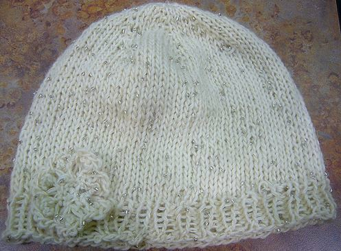 Iris Knit Hat  Flower Pattern