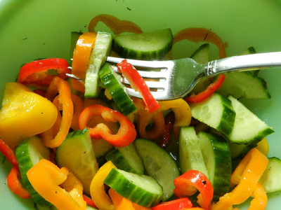 Summer Cucumber Salad with Peppers