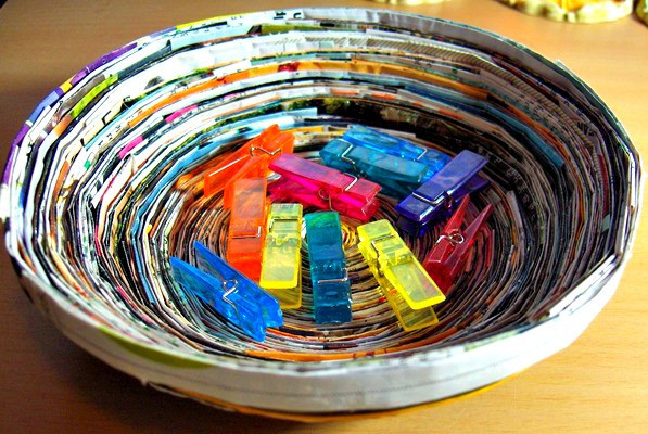 recycled paper crafts ideas magazine paper bowl allfreepapercrafts 5319