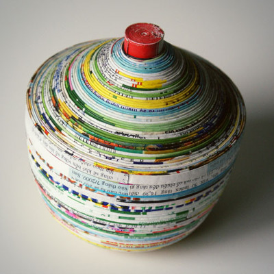 Magazine Paper Dish and Lid