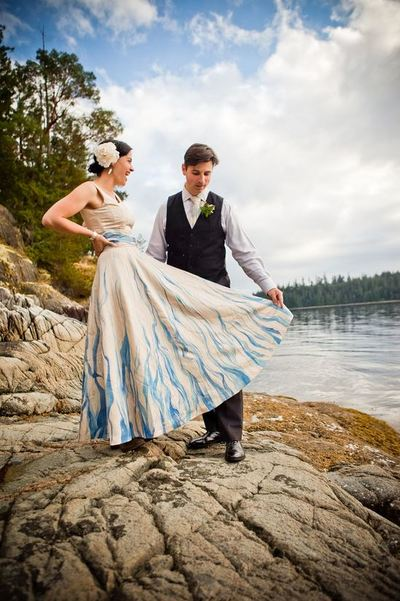 Devastatingly Gorgeous Hand-Painted DIY Wedding Dress
