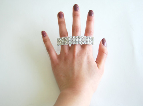DIY Rhinestone Multi-Finger Ring