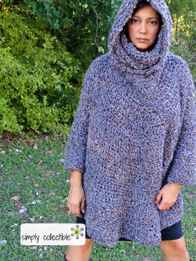 Free Crochet Pattern Mens Poncho : Hooded Poncho Cowl Crochet Pattern FaveCrafts.com
