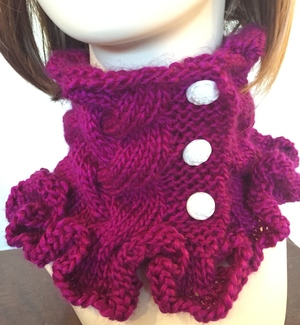Raspberry Riffles Cowl Knitting Pattern