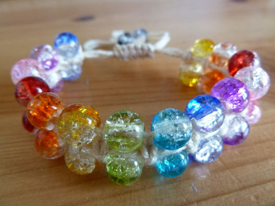 Bright Beaded Macrame Bracelet