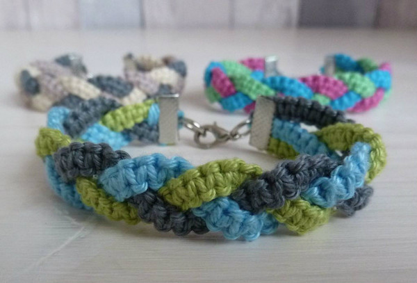 Triple Color Braided Macrame Bracelet