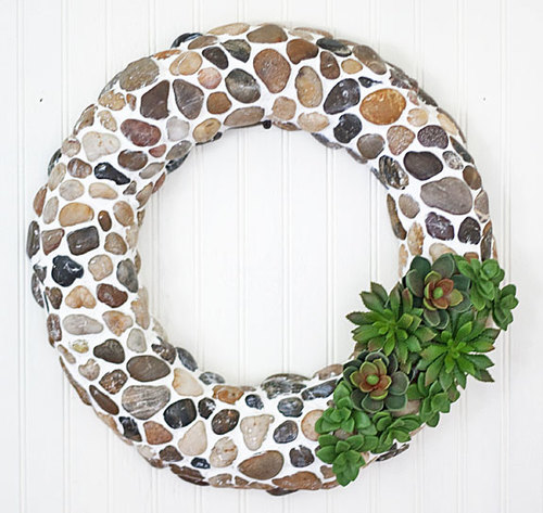 Succulent and Pebble DIY Wreath