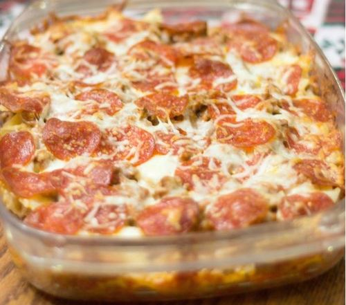 Dump and Go Sausage and Pepperoni Pizza Casserole