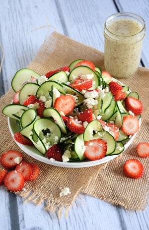 Cucumber and Strawberry Poppy Seed Salad