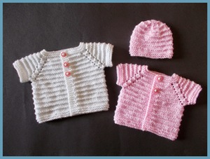 Preemie Cardi and Matching Hat