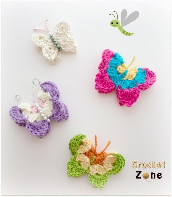 Crochet Butterflies AllFreeCrochet.com