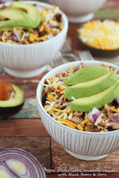 Spicy Shredded Chicken with Black Beans  Corn