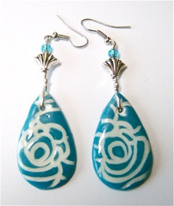 Azure Rose Clay Earrings