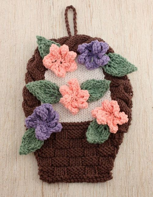 Flower Basket Knit Dishcloth Pattern