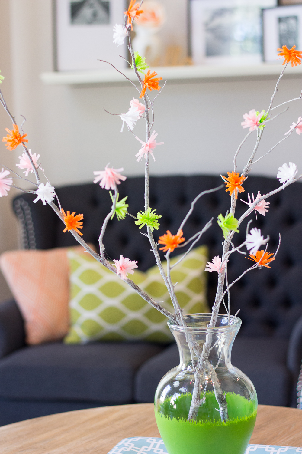 Colorful crepe paper flower branches allfreepapercrafts dhlflorist Choice Image