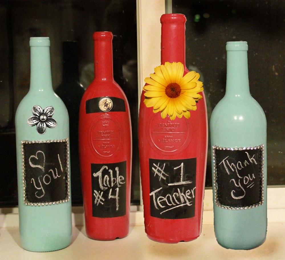 Decorative painted wine bottle for Christmas bottle decorations