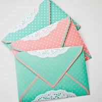 Dots and Doilies Wedding Envelopes